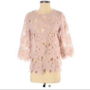 Aryn K rose color lace 3/4 sleeve blouse SMALL